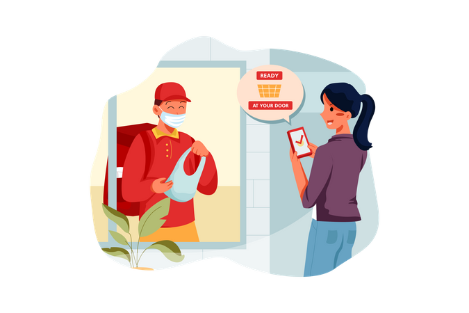 Delivery man giving delivery parcel to the owner at home Illustration