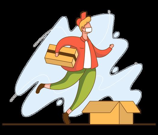 Delivery man going to deliver parcel Illustration