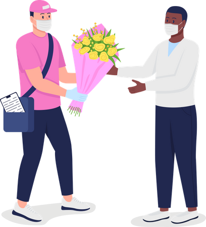 Delivery man in mask and gloves with customer Illustration