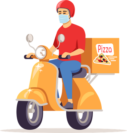 Delivery man in surgical mask going for deliver pizza Illustration