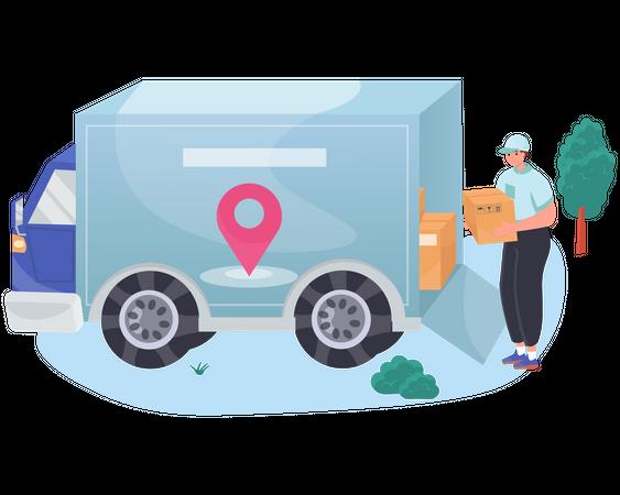 Delivery man loading parcels in truck Illustration