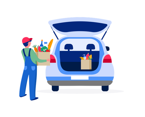 Delivery man putting grocery box in car Illustration