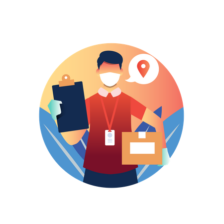 Delivery man reached location Illustration