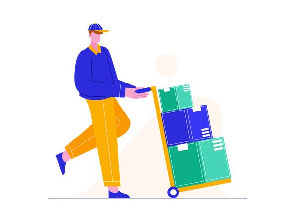 Delivery man shifting boxes Illustration