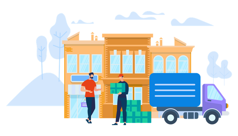 Delivery man with boxes visiting delivery address Illustration