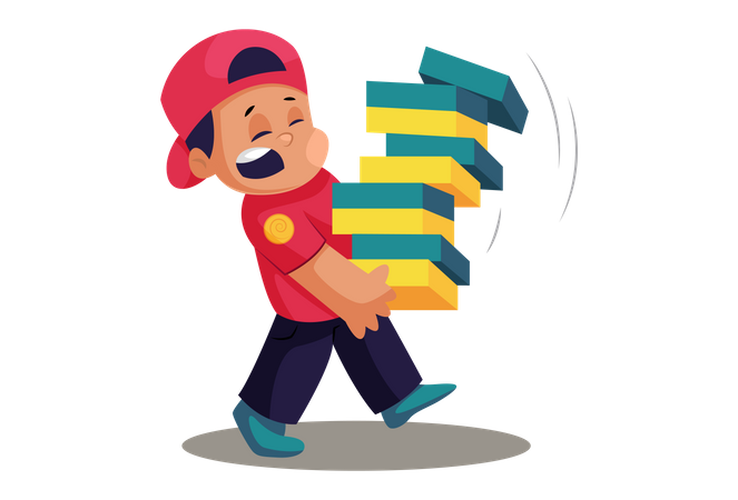 Delivery man with multiple pizza boxes Illustration