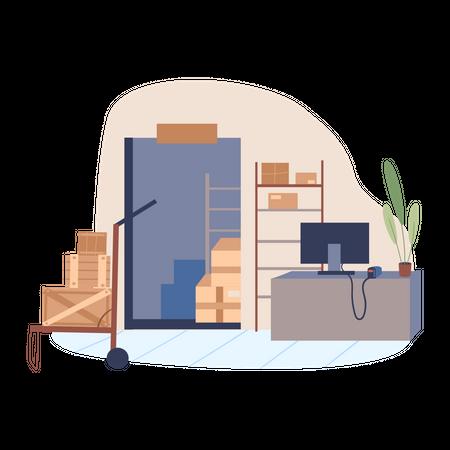 Delivery management office Illustration