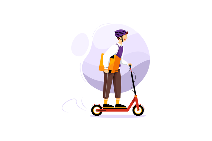 Delivery on scooter Illustration