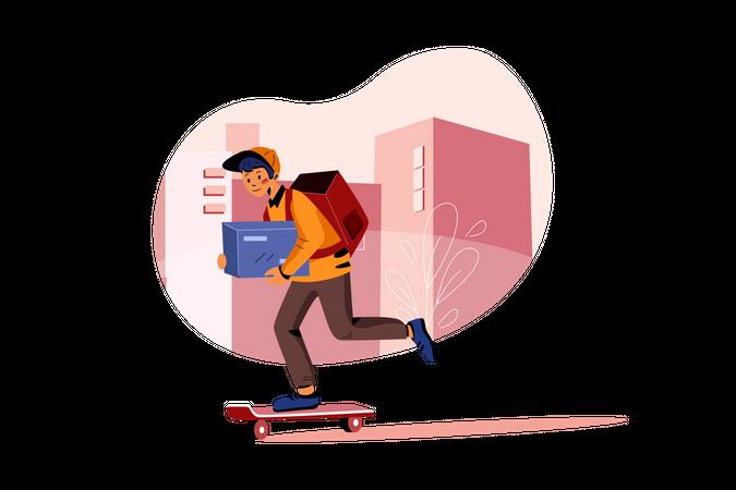 Delivery on skateboard Illustration