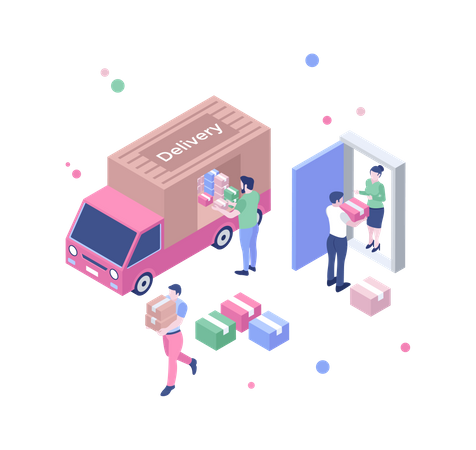 Delivery on truck Illustration