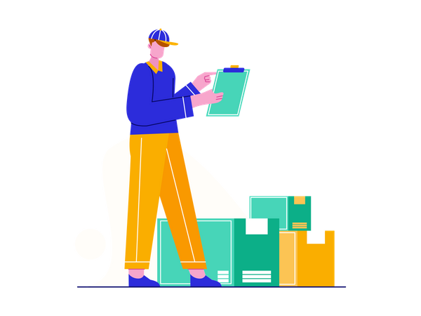 Delivery person checking delivery address Illustration
