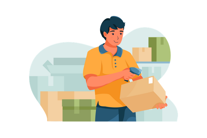 Delivery Person is scanning a box barcode Illustration
