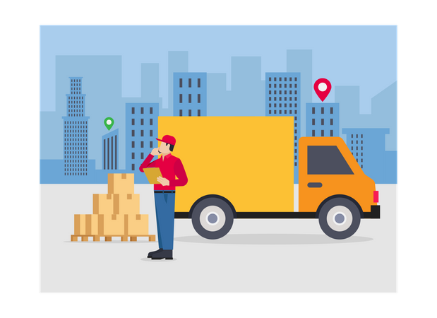 Delivery person loading parcels in truck Illustration