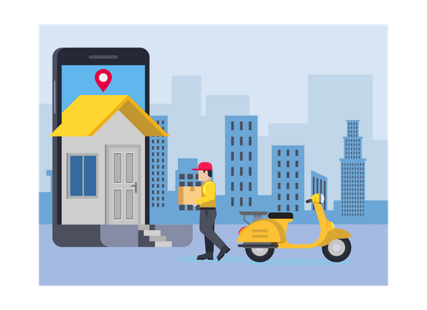 Delivery person on his way to deliver parcel Illustration