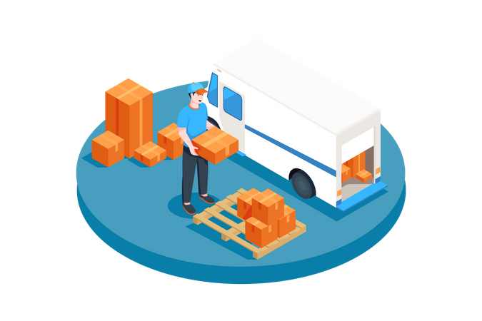 Delivery service man loading parcel boxes in truck Illustration