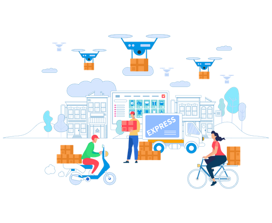 Delivery Service using drone Illustration