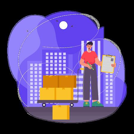 Delivery Service worker Illustration