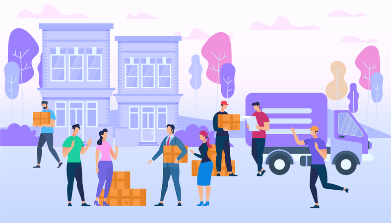 Delivery Service Workers Bring Many Boxes by Van Illustration