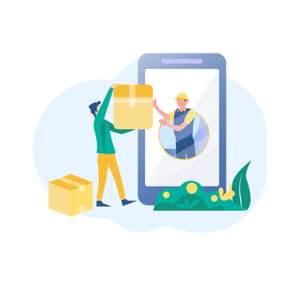Delivery services application Illustration