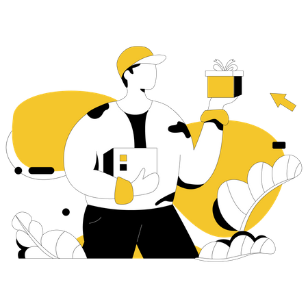Delivery staff doing home delivery Illustration