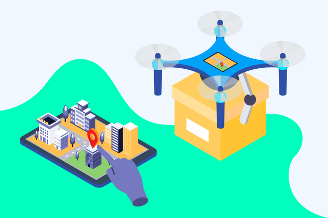 Delivery through drone Illustration