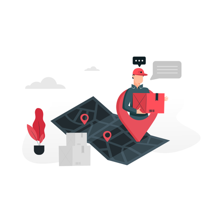 Delivery tracking with GPS and navigation Illustration