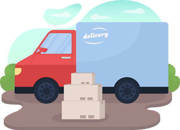 Delivery truck and package boxes Illustration