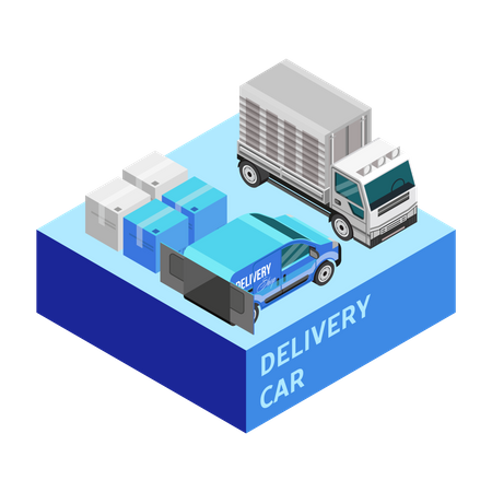 Delivery vehicles Illustration