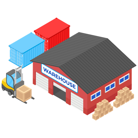 Delivery Warehouse or Storage Illustration