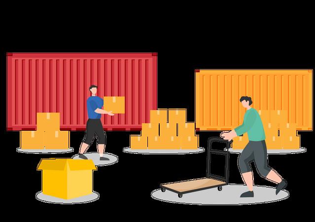 Delivery Workers arranging goods Illustration