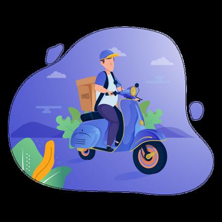 Deliveryman deliver parcel or package on a scooter Illustration