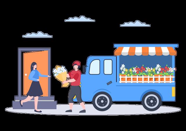 Deliveryman delivering flowers Illustration