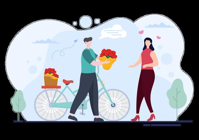 Deliveryman delivering flowers on cycle Illustration