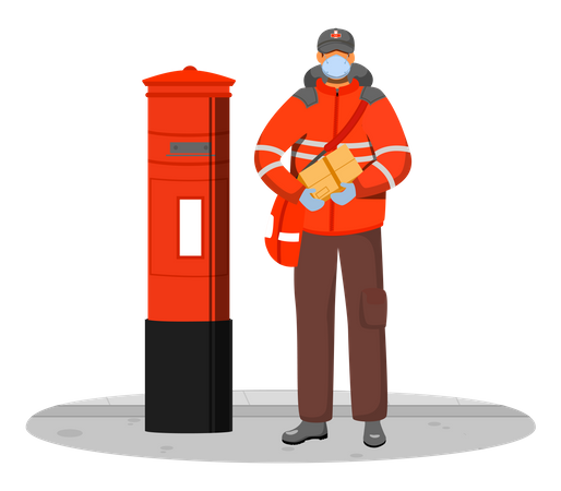 Deliveryman getting delivery packages from postbox Illustration