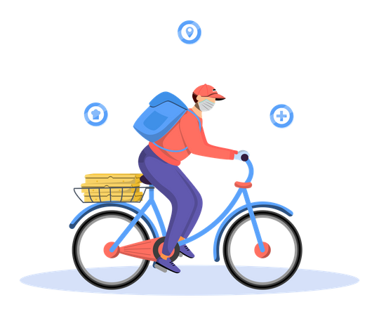 Deliveryman going to deliver courier on cycle Illustration