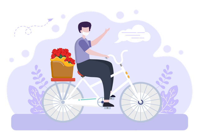 Deliveryman going to deliver flower using cycle Illustration