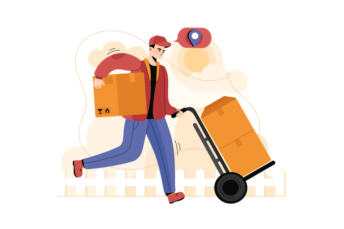 Deliveryman going to deliver package Illustration