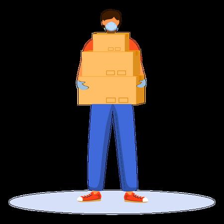Deliveryman holding delivery boxes Illustration