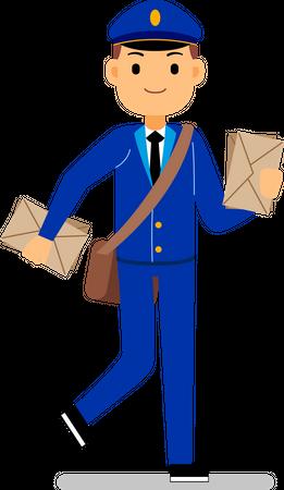 Deliveryman holding letters in hand Illustration