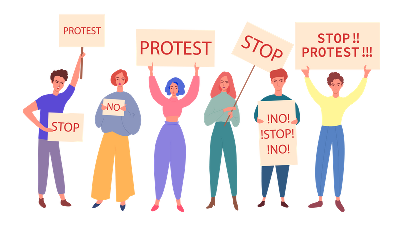 Demonstrators taking part in protest march Illustration