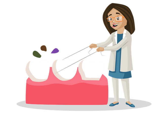Dentist cleaning tooth Illustration