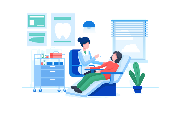 Dentist examining patient in dental clinic Illustration