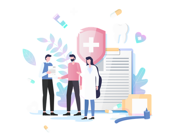Dentist giving suggestion through dental report to patient Illustration