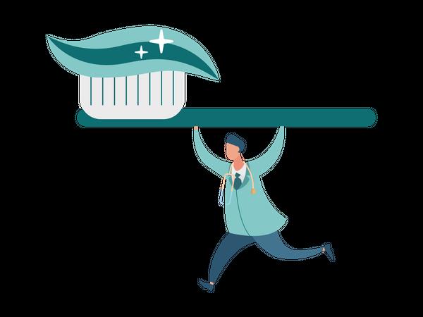Dentist running with toothbrush Illustration