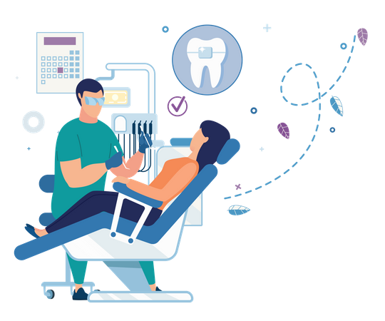 Dentist treating the patient in the dental clinic Illustration