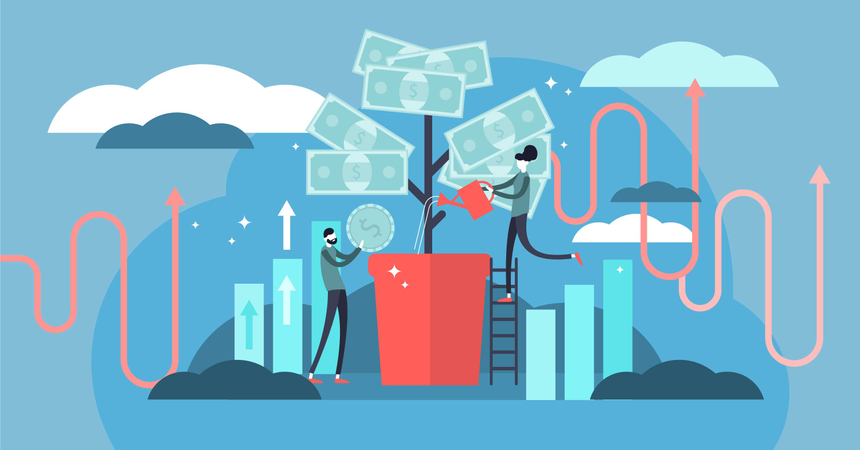Deposit profit and wealth growing business. Illustration