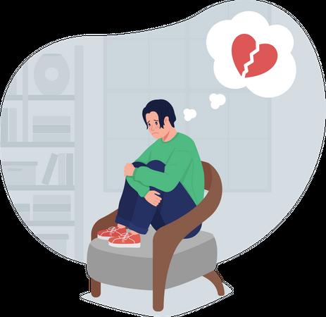 Depressed lonely boy thinking of heartbreak Illustration