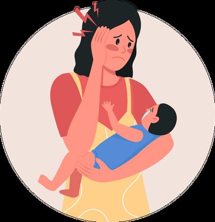 Depressed mother Illustration