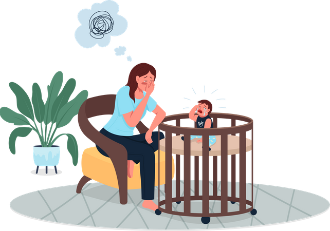 Depressed mother with crying baby Illustration