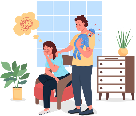 Depressed mother with husband and baby Illustration